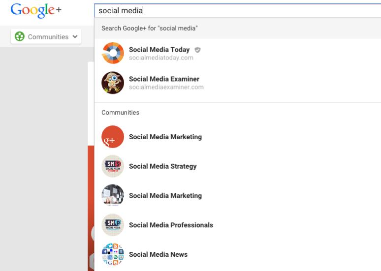 Google+ Communities Screenshot