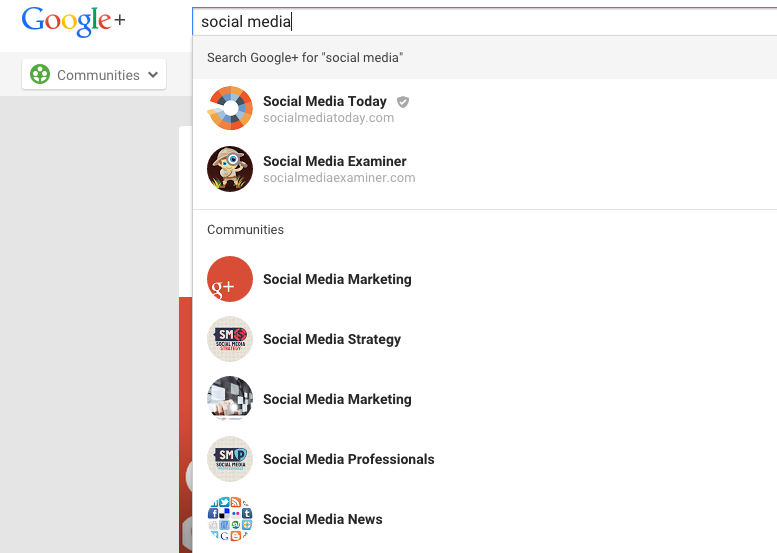 Google+ Communities Screenshot
